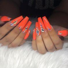 Orange Acrylic Nails, Bling Acrylic Nails, Drip Nails, Aycrlic Nails, Best Acrylic Nails, Orange Nails, Bling Nails, Glue On Nails, Bright Summer Acrylic Nails
