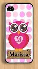 Cute iPhone 4 4s or 5 5s Pink Personalized Monogrammed Owl plastic Case