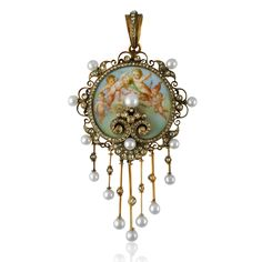 Nineteenth Century enamel, diamond and pearl putti pendant mounted in gold, in fitted case.