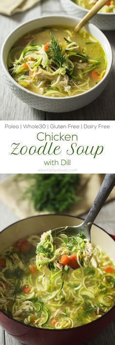 Lower Excess Fat Rooster Recipes That Basically Prime Chicken Zoodle Soup With Dill - Comforting And Healing Recipe With The Most Amazing Broth Paleo, Dairy Free, Gluten Free, Grain Free, Low Carb Whole 30 Recipes, Soup Recipes, Whole Food Recipes, Dinner Recipes, Gluten Free Recipes, Low Carb Recipes, Cooking Recipes, Healthy Recipes, Gastronomia
