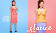 Clarice two-piece dress for The Sims 4