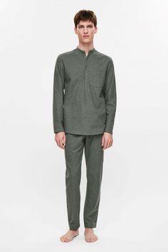 COS image 1 of Flannel pyjama tunic in Khaki Green