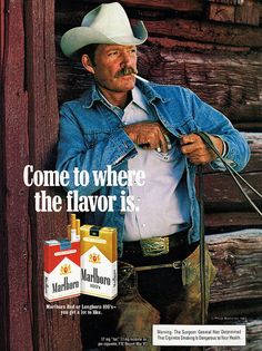 b4180420 1983 Marlboro Cigarettes Print Ad Marlboro Man Cowboy Hat Belt Buckle Denim  Jeans Jacket Leather Chaps Tobacco Advert