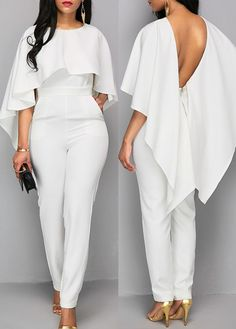 Zipper Closure V Back White Cloak Elegant Jumpsuit