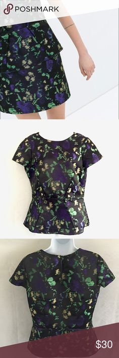 ZARA peplum blouse - jacquard pattern top Gorgeous multi-colored jacquard print blouse. Never worn! Perfect with a black skirt, black pants, or even dressy jeans. **Zara sold a matching mini skirt (pictured in the Zara stock photos I included) but I never owned it, unfortunately.** Fabric includes black, purple, kelly green, & straw yellow. 100% polyester but feels like silk shantung due to the slight sheen & weight. Short sleeves. Peplum style. Zara Tops Blouses
