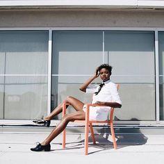 AuthenticallyB.com IG: authenticall.b  T shirt dressInternational Model Brandy Gueary Roof top photo shoot