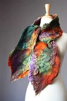 Felted Scarves - Hand Felted scarves and wraps, hand knitted and hand crocheted scarves, luxurious silk scarves, linen scarves, beautiful evening accessories.