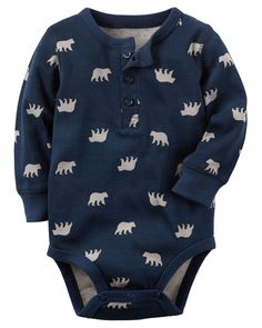 Baby Boy Animal Print Henley Bodysuit | Carters.com