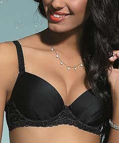 Black Brilliant Plunge Bra - Plus Too