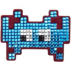 Anya Hindmarch Embellished Suede Mini Space Invaders Sticker ($110) ❤ liked on Polyvore featuring accessories, blue and anya hindmarch