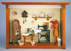 Reutter Dollhouse Miniature Sewing Room Vignette Picture Room Box Gift 1 861 5 | eBay