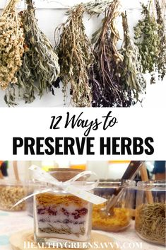Preserving herbs is an easy and delicious way to enjoy the flavors of your garden all year round. Here are 12 ways to preserve your favorite herbs this season. #herbs #preserving #foodpreservation Hanging Herbs, Clean Eating, Healthy Eating, Green Living Tips, Medicinal Herbs, Drying Herbs, Natural Living, Fresh Herbs, Preserves