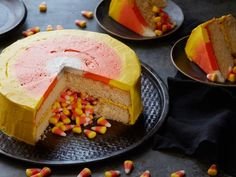 Halloween Stuffed Candy Corn Cake : This candy-inspired cake proves that a trick can also be a treat. Happy Halloween from our Food Network Kitchen. Orange Food Coloring, Gel Food Coloring, Candy Corn, Halloween Treats, Halloween Party, Halloween Desserts, Fall Desserts, Happy Halloween, Halloween Cakes
