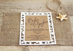 """White Sandy Beach"", starfish shaped laser cut wedding invitation, covered with burlap & natural starfish on top"