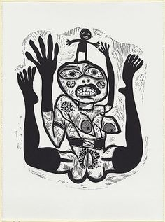 Artist: HANRAHAN, Barbara | Title: Woman and herself | Date: 1986 | Technique: linocut, printed in black ink, from one block