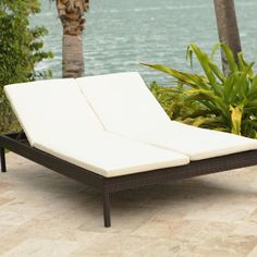 Source Outdoor Manhattan Double Chaise Lounge with Cushion ($1,100) ❤ liked on Polyvore