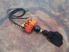 Thai Ethnic Tassel Necklace, Ecofriendly Jewelry, Tribal Pendant -