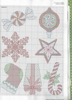 Cute Christmas Ornaments - Make either in cross stitch or plastic canvas