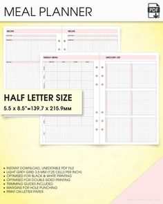 Notes Planner Kit A Inserts Printable Grid Notes Paper Printable