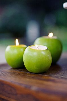 interesting if i do green and brown as my colors. DIY apple candles