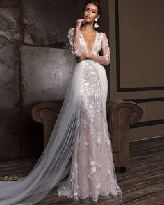 2019 Berta Mermaid Overskirts Wedding Dresses Long Sleeves Deep V Neck Full Floral Lace Appliqued Bridal Gowns Wedding Bridal Dresses Stunning Wedding Dresses, Wedding Dress Trends, Dream Wedding Dresses, Beautiful Dresses, Wedding Gowns, Wedding Venues, Budget Wedding, Wedding Dress Websites, Wedding Locations