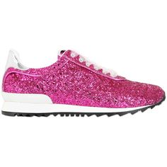 Casadei Women Limited Edition Glittered Sneakers ($580) ❤ liked on Polyvore featuring shoes, sneakers, fuchsia, casadei sneakers, glitter sneakers, rubber sole shoes, casadei and fuschia shoes
