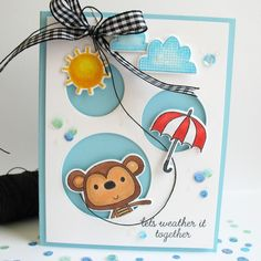 Card by Kathy Martin. Reverse Confetti stamp sets: Monkey Business and Weather It together. Confetti Cuts: Weather It Together, Monkey Business, Fresh 'n Fruity, Circles 'n Scallops, and Donut You Know. Friendship card. Encouragement card.