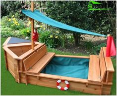DIY Sandbox with Cover - DIY Nation boat play sand box. just needs a removable lid on the sand box a Kids Outdoor Play, Outdoor Play Areas, Kids Play Area, Backyard For Kids, Outdoor Fun, Backyard Decks, Backyard Games, Outdoor Games, Outdoor Projects