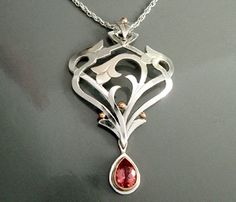 Julia Kay Taylor Handcrafted Artisan Jewelry — Climbing Rose Pendant in Silver and Pink Gold with Spinel Pear Amber Jewelry, Silver Jewelry, Studs And Spikes, Soldering Jewelry, Best Jewelry Stores, Jewelry Design, Jewelry Ideas, Artisan Jewelry, Pink And Gold