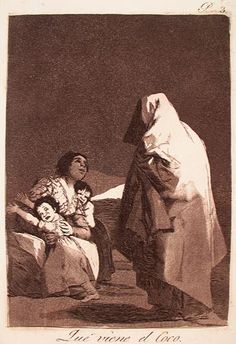 """Francisco Jose de Goya """"Here Comes the Bogey-Man"""" from Los Caprichos. 1799. Etching and burnished aquatint."""