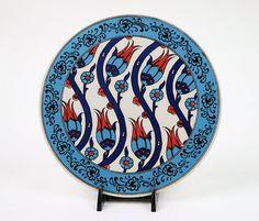 Handmade Ceramic Trivet-BlueTurquoise&Red Floral by BeyondTheSeaUS