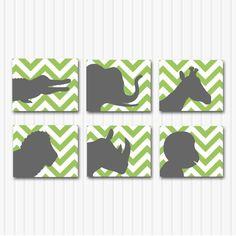 Baby Boy Nursery Art,  Modern Baby Boy Nursery Prints, Children's Art, Jungle Animal Wall Decor, Chevron, Green and Grey