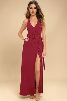 The Road to Rome Berry Red Wrap Maxi Dress is a true bella! Soft, medium-weight jersey knit starts at tank straps, and carries into a wrapping bodice with tying sash belt. Wrapping detail carries into the front slit of the maxi skirt.