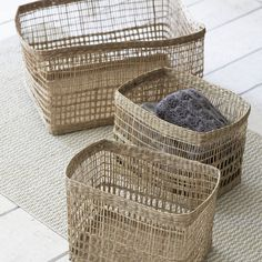 I've just found Set Of Three Mixed Weave Storage Baskets. A set of three beautiful Seagrass storage boxes, which includes 1 Large  2 Small Boxes.. £60.00
