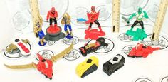 11 LOT - MIXED POWER RANGERS MCDONALDS TOY FIGURES WEAPONS PIECES USED #Bandai