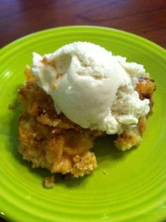 Classic peach dump cake. My husband has requested that I make it 3 more times after the first round. Surprising how easy and good it is! #dumpcake by patti