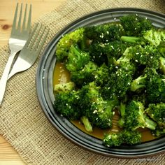 Roasted Broccoli with Sesame Drizzle Recipe Side Dishes with broccoli florets, olive oil, salt, pepper, rice vinegar, sesame oil, sesame seeds