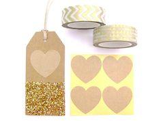 Heart Stickers - Set of 36 Stickers - Cute Kraft Stickers