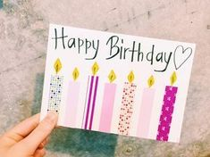 Pin by silverbells on Super simple birthday cards Birthday Gift Cards, Simple Birthday Cards, Homemade Birthday Cards, Birthday Postcards, Diy Birthday, Homemade Cards, Diy Christmas Presents, Christmas Crafts For Kids, Message Card