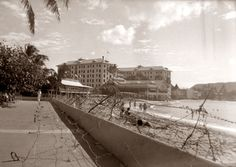 During the Second World War barbed wire was installed along Waikiki Beach. The Royal Hawaiian Hotel was taken over by the Navy, but the Moana Hotel remained under civilian control and accepted any guest that it could accommodate. Until after Okinawa was invaded in April 1945, people either got out of Waikiki's water at dusk, or risked being shot.  The barbed wire was removed from the beach at Waikiki after the threat of Japan's invasion waned.