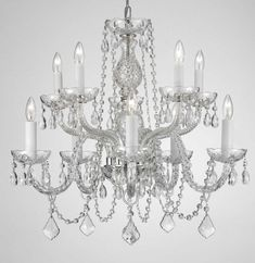 "G46-CS/1122/5+5 Gallery Murano Venetian Style Chandelier Lighting Crystal Chandeliers H25"" X W24"" 10 LIGHTS! $149"