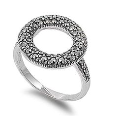 Sterling Silver Simulated Marcasite Circle Cocktail Ring Stylish Design 925 New Size 5 (RNG10487-5) *** See this great product. http://www.amazon.com/gp/product/B00XNRU3WM/?tag=jewelry3638-20&pst=280916134424