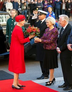 Queen Margrethe is greeted by the Presidium for the Parliament where they and the rest of the Royal family will attend the opening of the Parliament at Christiansborg in Copenhagen on October 4, 2016, in Denmark.