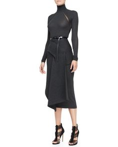 Long-Sleeve Turtleneck Bodysuit, Draped Jersey Skirt & Polished Calfskin Leather Belt by Donna Karan at Neiman Marcus.