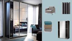 Master Bedroom PAX black-brown wardrobe with AULI mirror glass sliding doors