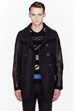 DIESEL Charcoal grey Wool & Leather Rondel peacoat