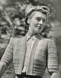 Square Shoulder Bolero Jacket 1940. The new silhouette in 1940s, bring to the women a new form of clothes. it turns the women into something stronger and more independent. Unknown designer.