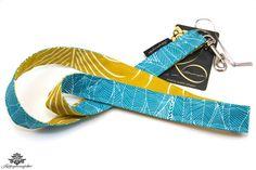 Schlüsselband Lanyard türkis-blau gelb aus der Lieblingsmanufaktur