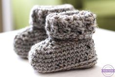 "Hey folks! (I'm from the south, where we say things like ""folks"" okay?) After making the Parker Crochet Newborn Hat (pictured below and available HERE) I knew that it needed a matching pair of baby booties. I grabbed the other half of my skein of Vanna's Choice grey marble and got to work!   MYRead More"