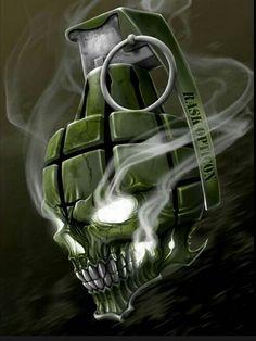 """Ross Kamela Artwork — """"A sick grenade skull. Skull Tattoo Design, Skull Design, Skull Tattoos, Body Art Tattoos, Tattoo Drawings, Granate Tattoo, Rosen Tattoo Mann, Totenkopf Tattoos, Skull Pictures"""